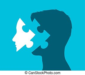 Illustration of a head with missing puzzle piece -...
