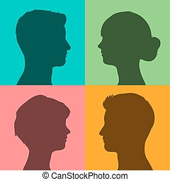 Four silhouettes of heads on colored background - Four...