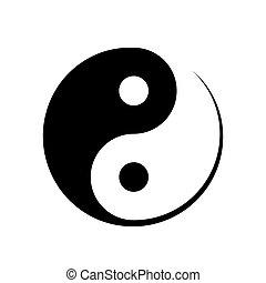Black and white Yin Yang symbol symbolising harmony, unity,...