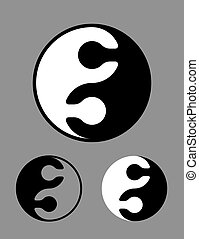 Black and white Yin Yang symbol of puzzle pieces