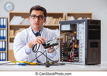 Proffesional repairman repairing broken hard drive