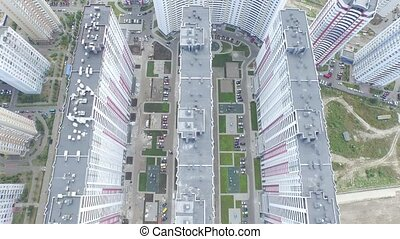 New social housing in a Residential Area in Kiev, Aerial...