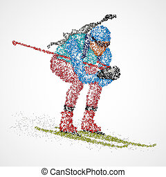 abstract biathlon sportsman - Abstract biathlete of colorful...