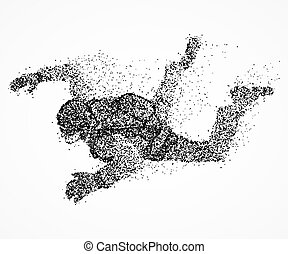 abstraction, parachutist, fly - Abstract person with a...