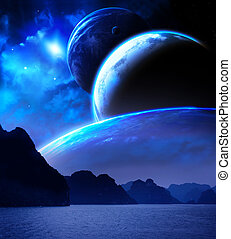 Landscape in fantasy planet. Sea, mountains, planets and...