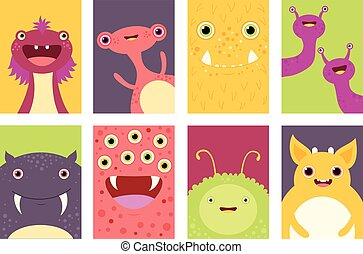 Set of banners with cute monsters - Collection of banner,...