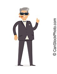 Rich Man in Expensive Suit Isolated on White. Vector