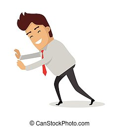 Man Pushing Unseeing Wall. Businessman with tie - Man...