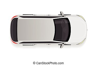 White Car from Top View Vector Illustration.