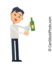 Drunk Woman with Glass of Wine Flat Vector - Drunk man in...