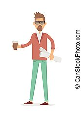 Freelancer with Cup of Coffee and New Project Isolated -...