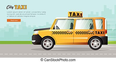 Yellow Taxi with Checker on the Road in City. - Yellow taxi...