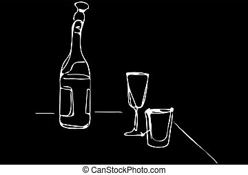 vector sketch of a champagne bottle and glasses of wine on the table