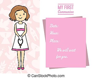 Girl with rosary - my first communion card. Girl with...