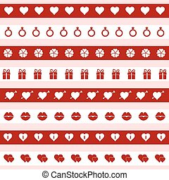 Set of red and white valentine's day icons, vector illustration