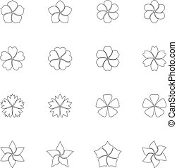 Set of flower icons, vector illustration