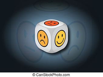 A 3D illustration of a dice with emotion symbols. On each...