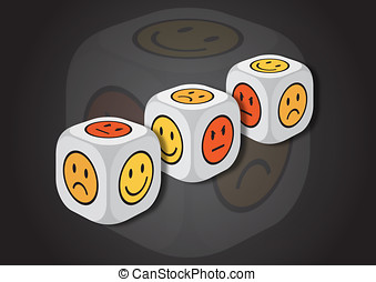 A 3D illustration of three dice with emotion symbols. On...