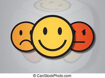 An illustration of three smiley faces