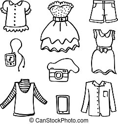 Doodle of clothes for women vector art