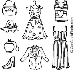 Doodle of fashion clothes for women vector illustration