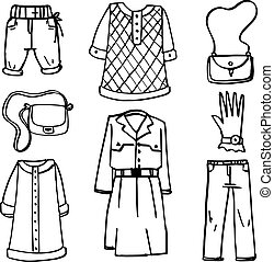 Doodle of clothes and accessories for women vector art