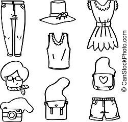 Doodle of clothes object for women vector illustration