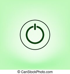 Power sign icon. Flat design style. - Power switch icon....
