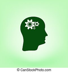 Brain Gears vector icon