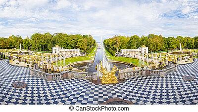 Peterhof, Grand Cascade - fountains of Peterhof, Grand...