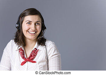 How may i help you - Young beautiful woman with headset...