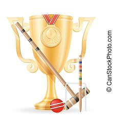 croquet cup winner gold stock vector illustration isolated...
