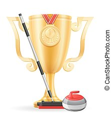 curling cup winner gold stock vector illustration isolated...