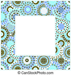 Quadro, azul, oriental, arabescos