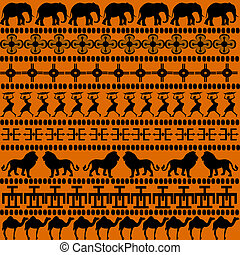 African motives with African animals and women