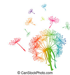 Colored dandelion with colored seeds