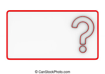 billboard with question on white background. Isolated 3D...