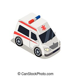 Ambulance Illustration in Isometric Projection.