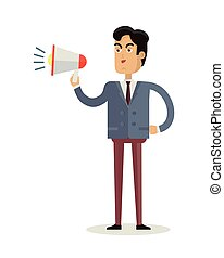 Man with Loudspeaker Vector Illustration. - Male character...