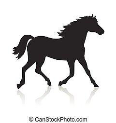 Horse Vector Illustration in Flat Design - Running sorrel...