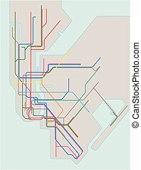 colored subway map of New York City