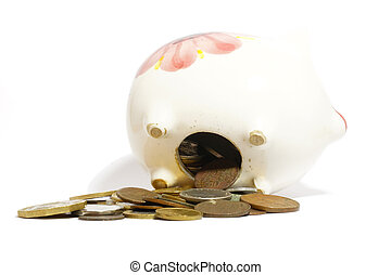 Overloaded piggy bank and coins