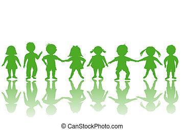 Group of green children