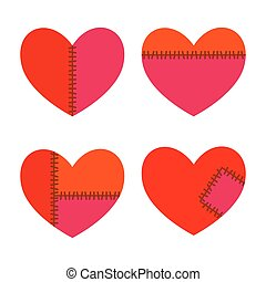 Set of Hearts With Stitches