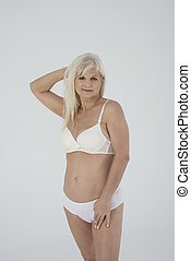 Senior woman doesn't ashamed of her body