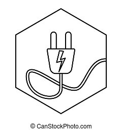 electric plug - simple thin line electric plug icon vector