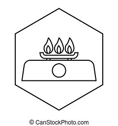 gas stove - simple thin line gas stove icon vector