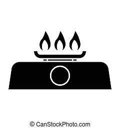 gas stove - simple flat black gas stove icon vector
