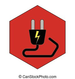 electric plug - simple flat black electric plug icon vector