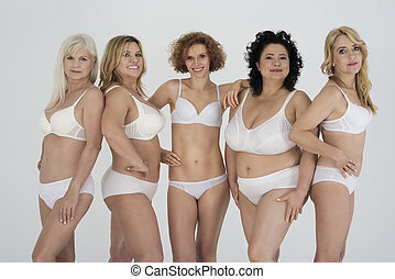 Group of natural women in classic lingerie